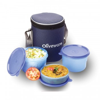 Oliveware Easy Meal Lunch Box | 2 Big & 1 Small Container | Idle for Office Use
