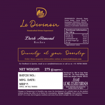 Le Divinoir Pure Dark Chocolate Almond Roches, 275g (24 Pieces) - Single-Origin Dark Chocolate with 45% Cocoa and 72 Whole Roasted California Almonds. 1